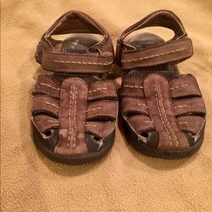 Sz 11 Boy Brown Derek Rose Leather Velcro Sandals